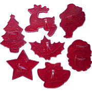 Vintage Cookie Cutters Christmas Red Plastic H and M Brand