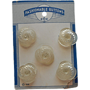 1940s Plastic Buttons On Card Clear Frilly Molded With Piercing