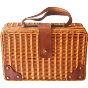 Vintage Basket Suitcase Style Picnic Papers Leather Trim A Bit TLC