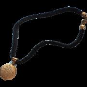 1960s Locket On Black Velvet Rope Necklace