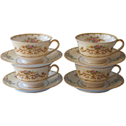 Noritake Arabella 4 Cups Saucers Vintage China