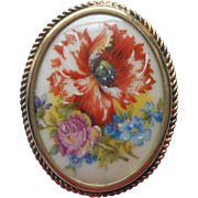 Limoges Brooch China Pin Poppy Vintage