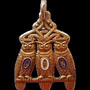 Antique Fob Charm Order Of Owls Art Nouveau 3 Wise Owls Fraternal