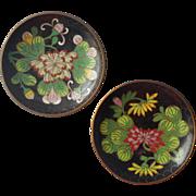 Vintage Cloisonne Enamel Pin Dishes Ashtrays Black Floral