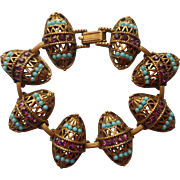 Vintage 1960s Bracelet Victorian Revival Egg Shapes Faux Turquoise Faux Amethyst