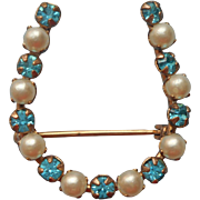 Gold Filled Vintage Little Horseshoe Pin Aqua Rhinestnes Faux Pearls