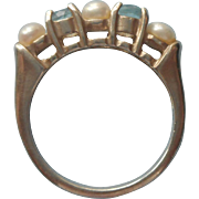 Vintage Sterling Ring Freshwater Pearls Aquamarine Silver