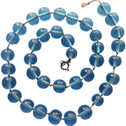 1920s Glass Beads Necklace Vintage Must Be Restrung Blue Round