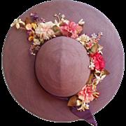 1950s Hat Purple Platter Vintage Wide Brim Pink Flowers