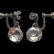 1920s Bezel Set Crystal Dangle Earrings Vintage TLC Needed