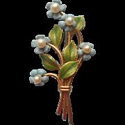 Krementz Cultured Pearl Forget Me Not Flowers Vintage Pin