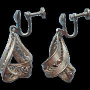 Sterling Filigree Vintage 1950s Silver Earrings Screw Back Dangle