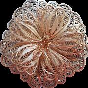 Vintage Filigree Sterling Silver Flower Pin