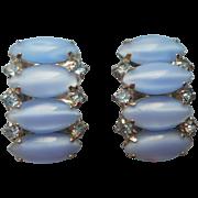 Vintage 1950s Earrings Cats Eye Glass Blue Stones Blue Rhinestones