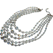 Vintage 5 Strand Necklace Cut Crystal Beads AB Finish