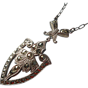 1920s Sterling Silver Pendant Drop For Necklace Marcasites Bow TLC