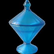 1920s Fenton Celeste Blue Stretch Glass 390 Candy Jar Vintage