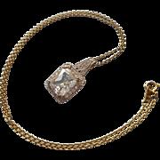 Vintage Necklace Sterling Vermeil Faux Diamond Pendant