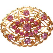 Vintage Pin Pink Rhinestones Gold Color Filigree Edwardian Revival