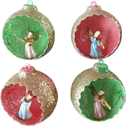 Jewelbrite Vintage Christmas Tree Ornaments 4 Angel Diorama Glitter Plastic