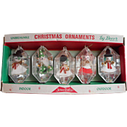 Jewelbrite Diorama Reflector Vintage Christmas Tree Ornaments Plastic