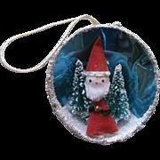 Vintage Diorama Christmas Tree Ornament Bottle Brush Trees Santa