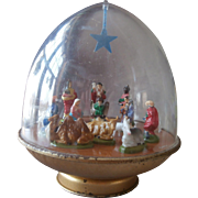 Vintage Ohio Art Christmas Musical Nativity Dome Rotates Music Box Wind Up