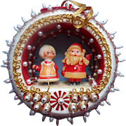 Vintage Christmas Tree Ornament Bead Sequin Mr. Mrs. Santa Claus