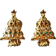 Vintage Christmas Tree Clip Earrings Red Green Clear Rhinestones