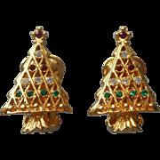 Vintage Christmas Tree Clip Earrings Red Green Clear Rhinestones
