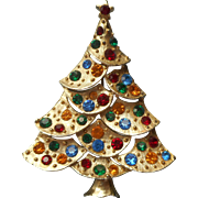 Christmas Tree Pin Vintage Red Green Yellow Blue Rhinestones