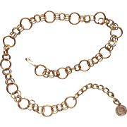 1960s Belt Chain Links Vintage Gold Tone Metal Hong Kong