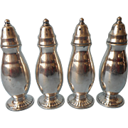 Set Shakers Silver Plated 4 Vintage Oneida Salt Pepper