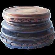 Vintage Chinese Wood Vase Pot Stands Pedestals