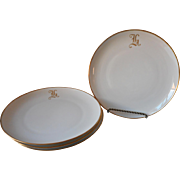 Monogram H Antique China Plates 4 Salad Large Dessert