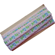 Vintage Ribbon Braid Cotton Woven Pink Blue White Green