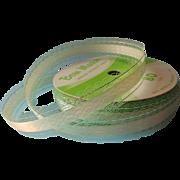 1960s Ribbon Paper Lace Vintage Pale Green Silver Decorette Bow Master Brand