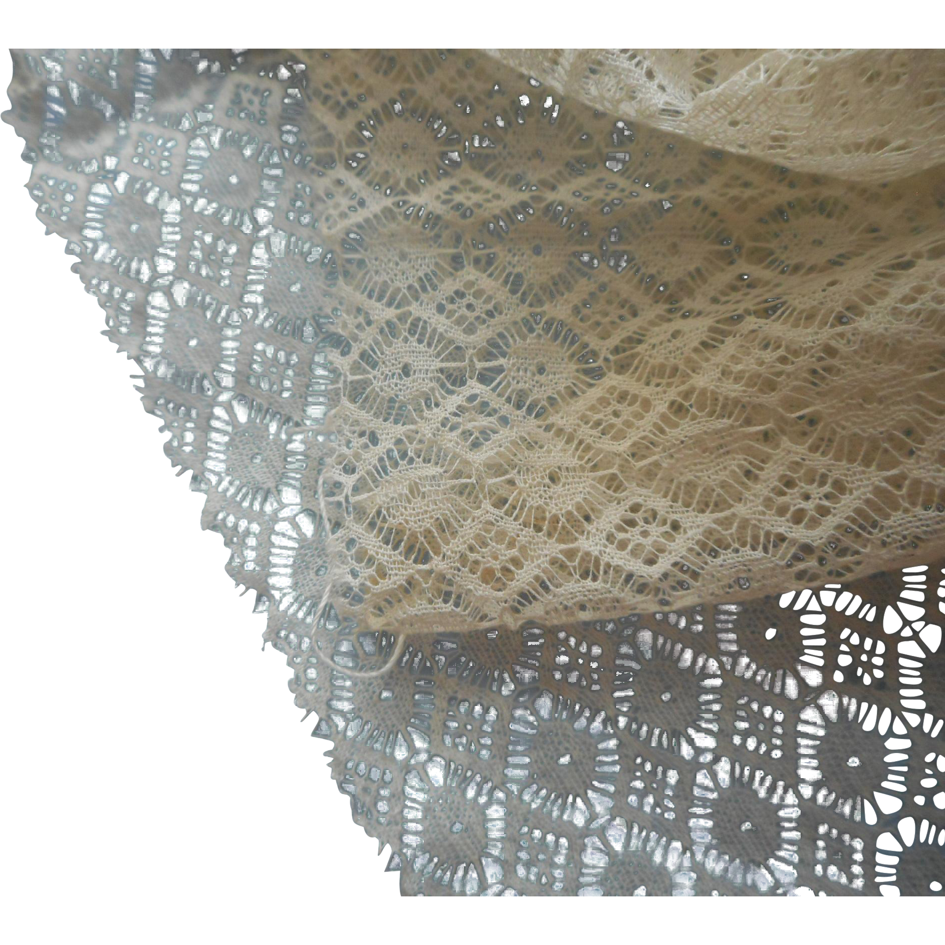 Antique Lace Netting For Dress Fronts Inserts Unused Large Fragments