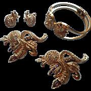 1950s Set Bracelet Earrings Pendant Pin Vintage Purple Rhinestones
