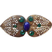 Czech Filigree Buckle Vintage 1920s to 1930s Blue Green Glass Stones Czechoslovakia