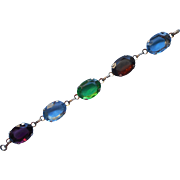 Vintage 1960s Bracelet Big Faceted Glass Stones Multi Color