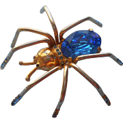 1940s Spider Brooch Pin Vintage Figural High Set Blue Glass