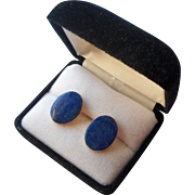 Lapis 14K Earrings Pierced Large Oval Stud