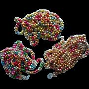 Vintage Christmas Glass Bead Garland 3 Lengths Multi Color
