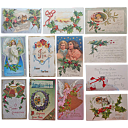 Antique Christmas Postcards 12 1906 to 1916 2 With Cats