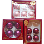 Vintage Christmas Glass Tree Ornaments 80s Rauch Victoria Collection Burgundy Pink