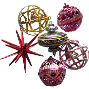 Vintage Christmas Tree Ornaments Bradford Plastic UFO Star Bell Cage Atomic