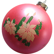 Vintage Christmas Glass Large Ornament Stencil Candles Bright Pink Green White