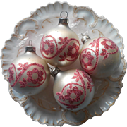 Vintage Christmas Glass Tree Ornaments Pink Glitter Stencils Stencil On Pearl White