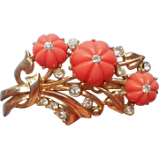 Vintage Pin Faux Coral Faux Diamonds